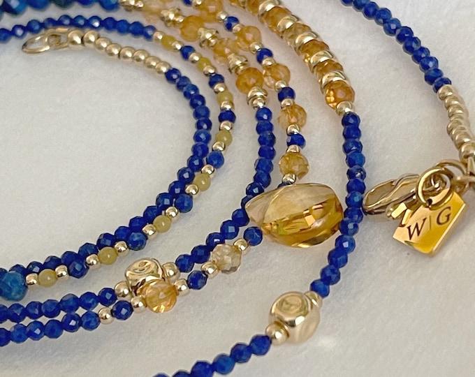 Wisdom  14k Blue Lapis and Citrine Waist Beads   Waistbeads with clasp   African Waist Beads   Birthstone Lux Waist Beads   Plus Size
