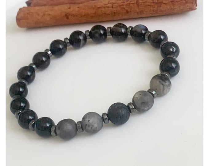 Men's Matte Black Onyx, Hematite, and Lava Rock 10mm Bead Bracelet, Men Bracelets, Gifts for him, Fathers Day Gift, Beaded Bracelet for men