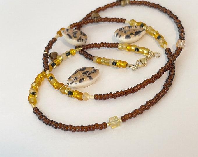Lady Cat Brown Waist Beads | Bead Waist Chain |  Waist Bead with Charms | Crystal | African Waist Beads