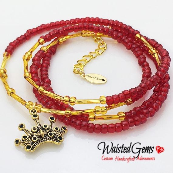 Love Queen waistbeads, belly chain, red and gold waist beads, outdoor fun, barefoot sandals, african waist beads  zmw01