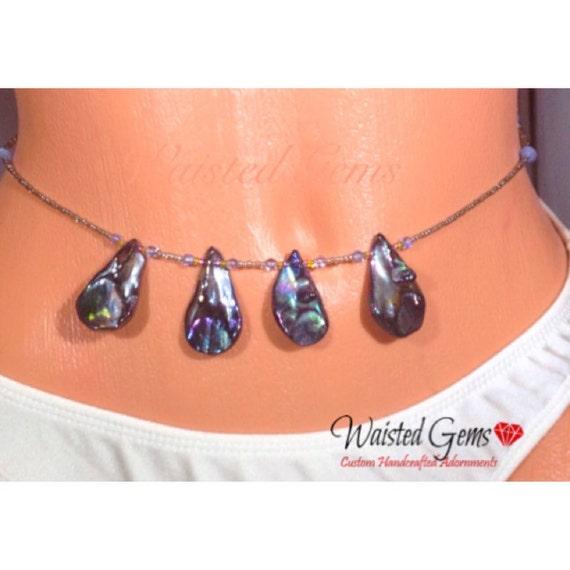 Blue Waters Waistbeads, Waist Beads, Belly Chain, Body Jewelry, boho jewelry, Necklace, anklet.  zpw20