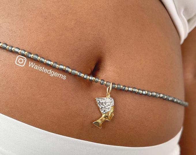 Black Diamond 14k Gold Waistbeads , Crystal Waistbeads, African Waist Beads, 14k Gold, plus size, Black Waist Beads, Christmas Gift