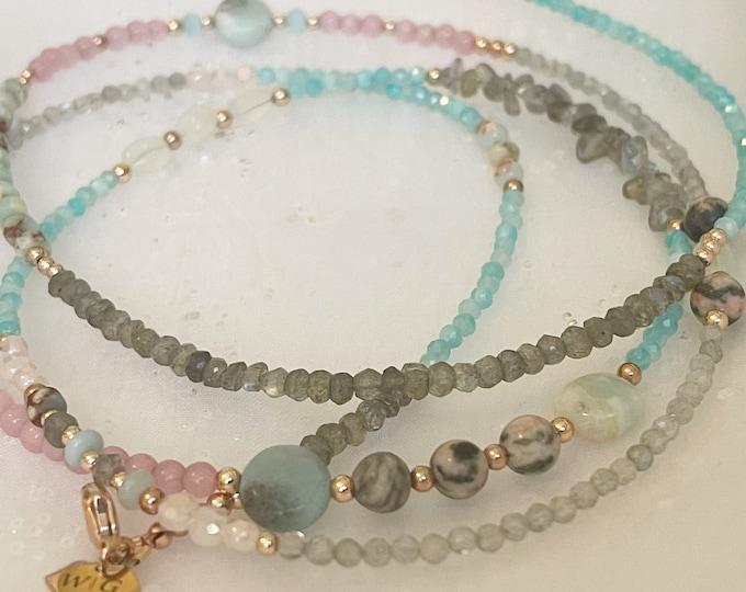 Peaceful Wisdom Waist Beads, 14k Rose Gold Waist Beads, African Waist Beads, Gemstone Waist bead,Crystal Waist Beads,  zmw2311-19