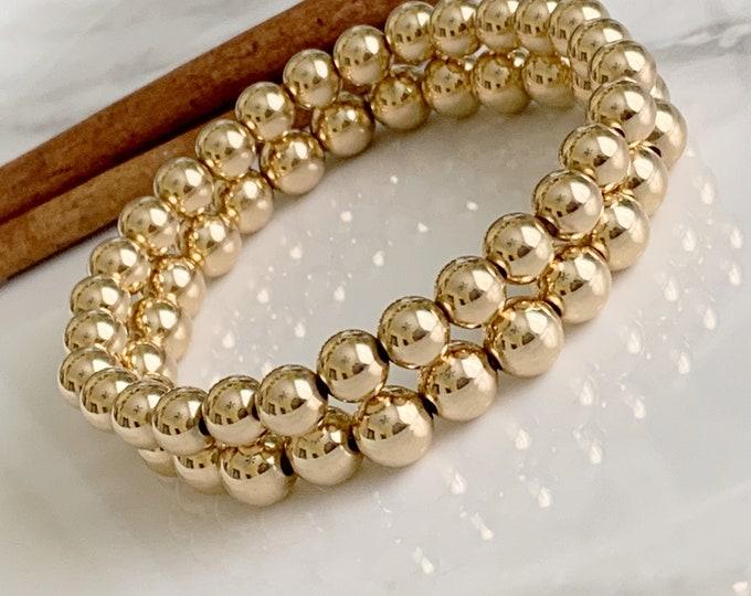 Bold Beaded Bracelet | Stretch Bracelets | Gold Bead Bracelets | Statement Bracelet | 8mm Gold Beads | Shiny Ball Bracelet |