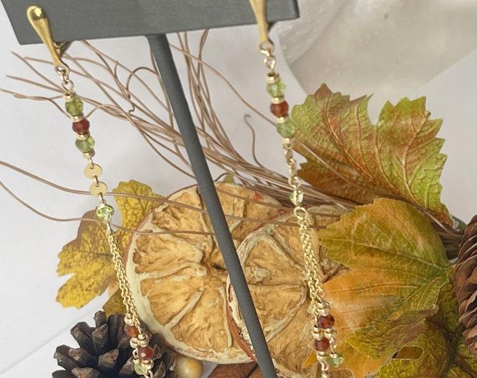 Tranquil 14K Gold Dangle Earrings | Clip on  Dangle Earrings | Beaded Earrings | Gold Chain Earrings | Gold Long Earrings | Crystal Earrings