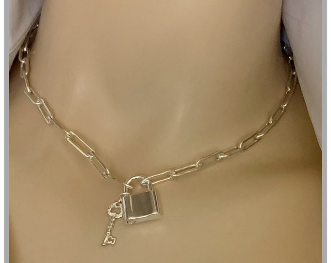 Silver Large Chain Lock and Key Charm Necklace, Anchor Chain, Lock Necklace, Milano link, Large Link Chain, Padlock Chain,Charm Choker