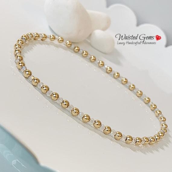 14k Gold and Crystal Bracelet, Dainty Bracelets, Crystal Bracelet, Gifts for her, Wedding Jewelry,