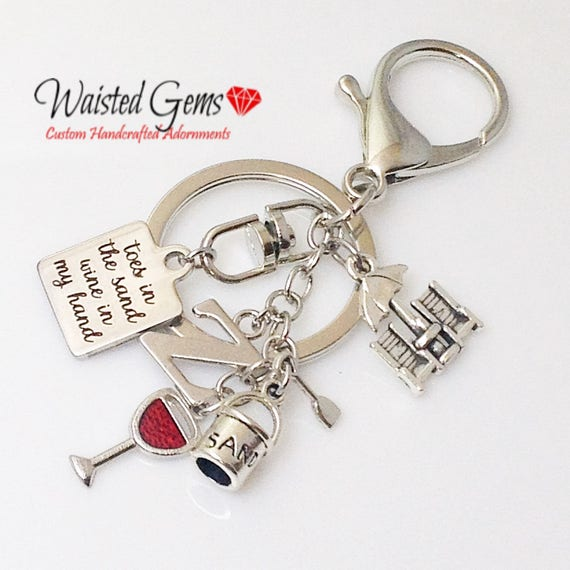 Toes in the Sand Wine in My Hand Custom Key Chain, Summer Fun, Summer Party, Beach Party, Summer Jewelry, Beachwear,   zmw01121