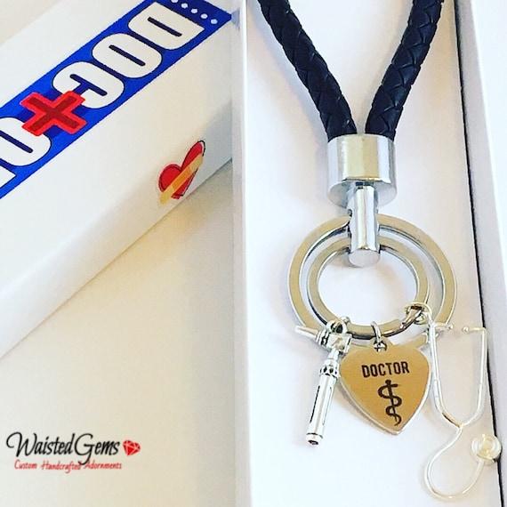 Doctors Custom Charm Keychain, Doctors Gift, Care Givers, Stethoscope, Syringe, Otoscope, Reflex Hammer