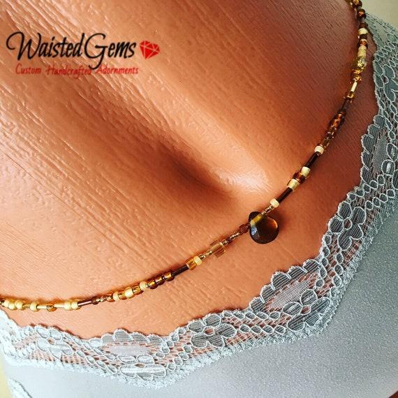 Chocolate Factory Waist Beads, Belly Chain, Body Beads, Bikini, African Waist Beads, Boho Jewelry, waist beads zmw4434.3