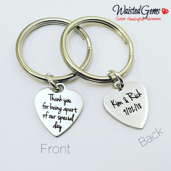 Custom Bridal Two-Sided Charm Keychain, Thank You Gift, Bridesmaids, Wedding Party, zmw33472