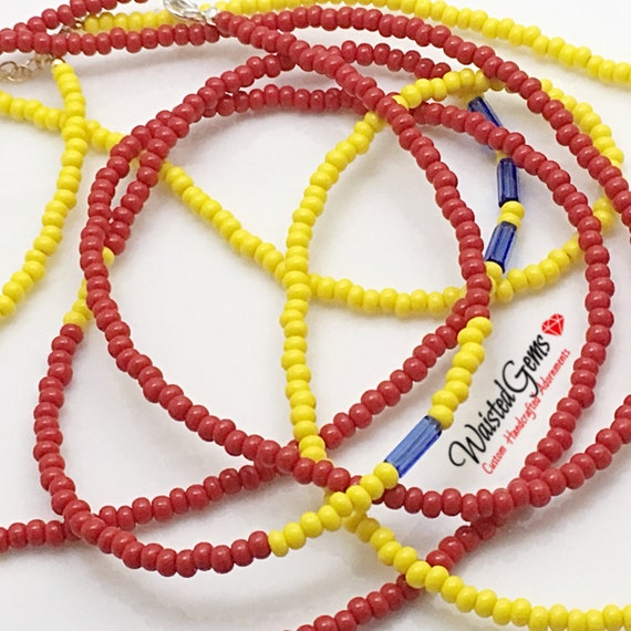 Yellow and Red 3 pc Waist Bead Set, African Waist Beads, Crop Top, Belly Chain, Waist Beads, Waist Trainer, Gifts for her