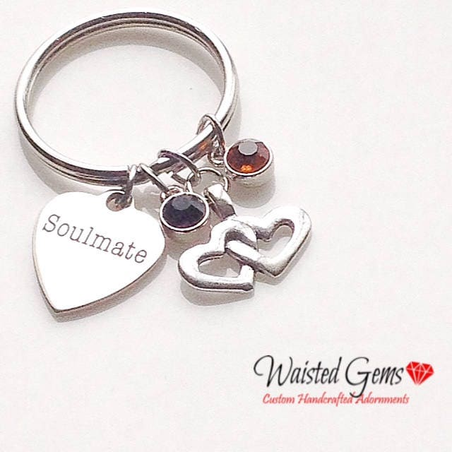 Soulmate Custom Charm Keychain, Birthday Gifts, Fathers Day Gift