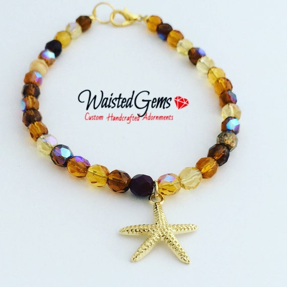 Czech Crystal Starfish Anklet, Summer Jewelry, Gift for her, Anklet, Charmed Anklet, Brown Bracelet, Crystal Anklet