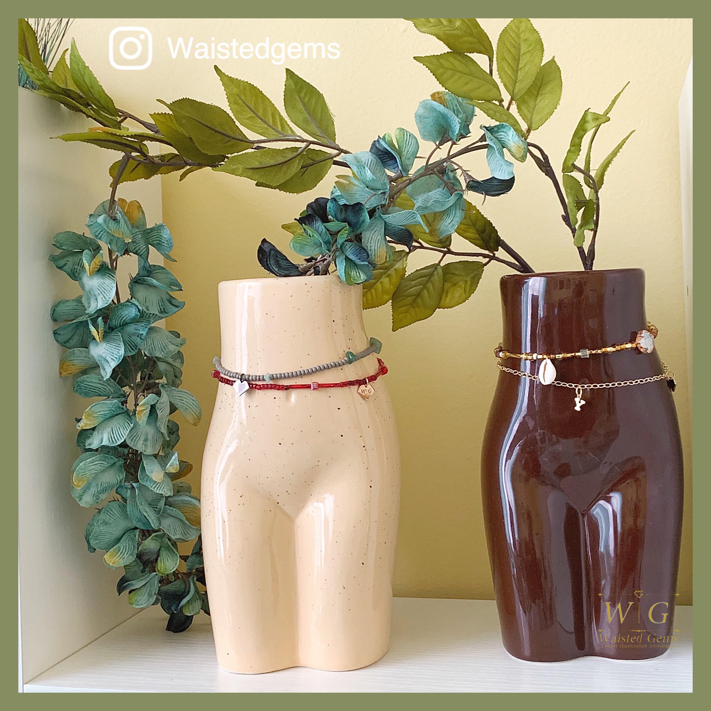 A Women S Blist Ceramic Vase Women Torso Vase Waist Bead Vase Body Art Abstract Vase Woman Form Vase Woman Body Vase Waist Beads