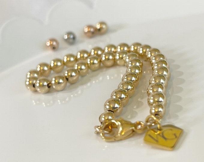 14K Gold Bead Bracelet | Gold Beaded Bracelet w Clasp | Gifts For Her | Beaded Chain Bracelet |  White Gold Bead Bracelet | 14k Rose Gold