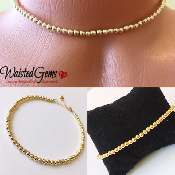 14k Gold Beaded Bracelet or Anklet, Gold Beaded Bracelet, Gold Anklet, Mothers Day Gifts, Gold Choker,