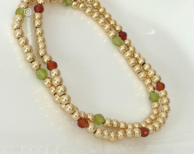 Tranquil | 14k Solid Gold Beaded Bracelet | Mother's Day Gift | Gold Bead Bracelets Set | Bead Bracelets Set for Women | Gold Bead Gift Set