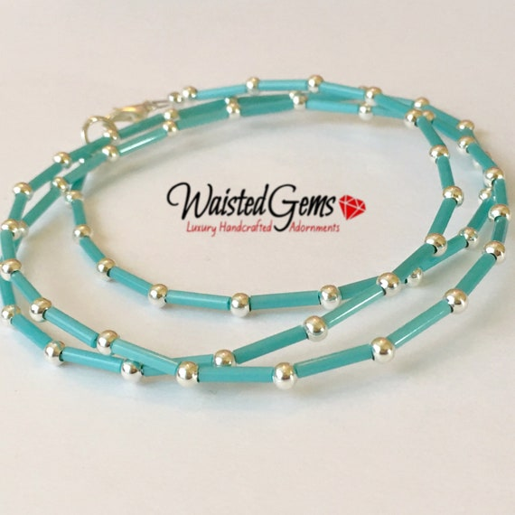 Sterling Silver and Turquoise Waist Beads, African Waist Beads, 925 Bead Necklace, Silver Belly Chain, plus size waistbeads zmw2311-82