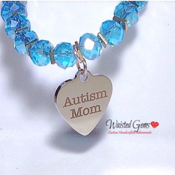 Autism MoM Beaded Bracelet, Crystal Beaded Bracelet, Autism Awareness, Awareness Jewelry, zmp1972