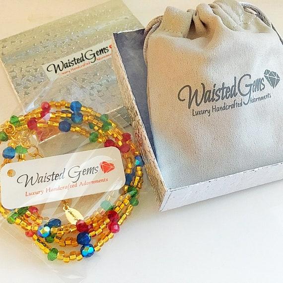 Jewels Waist Beads, belly chain, red and gold waist beads, outdoor fun, barefoot sandals, african waist beads  zmw01