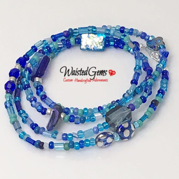 Blue Frost Waist Beads, Summer Pary, Belly Chain, barefoot sandals, Blue waist beads, Boho Jewelry, waist beads zmw4435