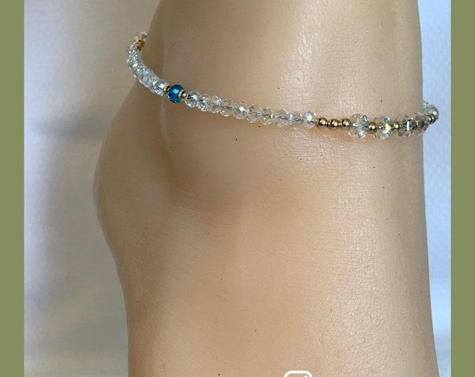 Crystal and 14k Gold Anklet   Dainty Anklet   Crystal Anklet   Shiny Anklet   Summer Jewelry   Sparkly Ankle Bracelet  