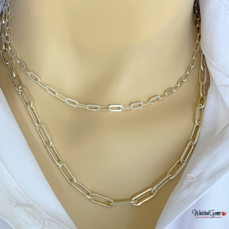 da02000ac5a34 Sterling Silver Box Chain Necklace, Anchor Chain, Layering Chain ...
