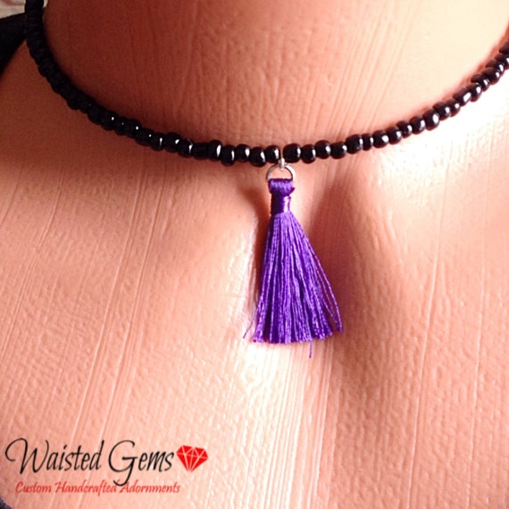 Charmed Choker, black choker, beaded choker, purple choker, feather choker, beaded necklace, summer jewelry, cute choker zmp1975-5