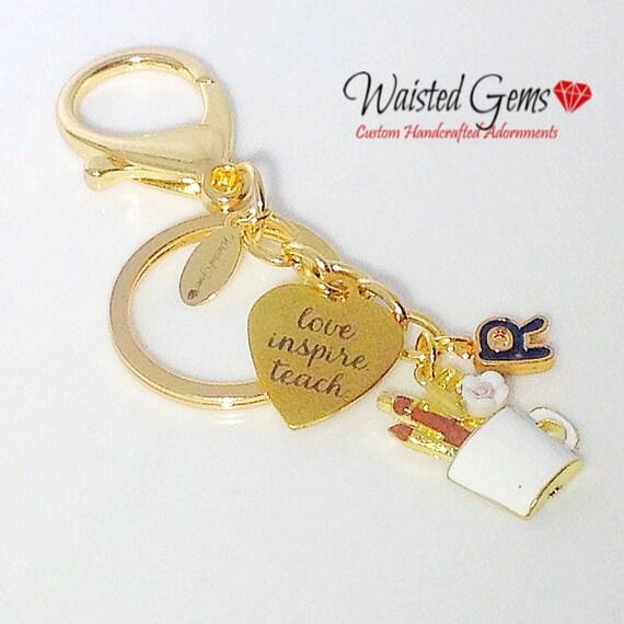 Love Teach Inspire Custom Key Chain, Teachers Gifts, Back to School, Students, Custom Key Chains, Teaches, zmw9902