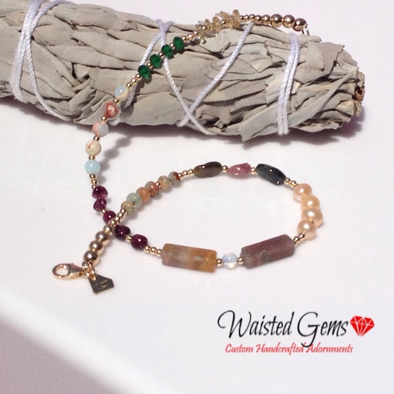 14k Gold Multi Gemstone Anklet, Waistbeads, Adjustable Necklace, Mothers Day Gift,  Birthday Gift, Valentines Gift, Gift for her  zmw1123-99