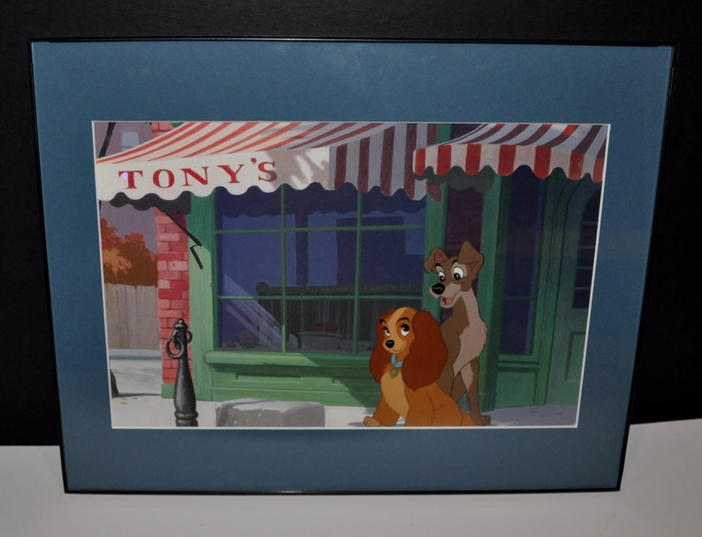 Disney Lady And The Tramp Lithograph Picture In A Black Picture Frame From 1998