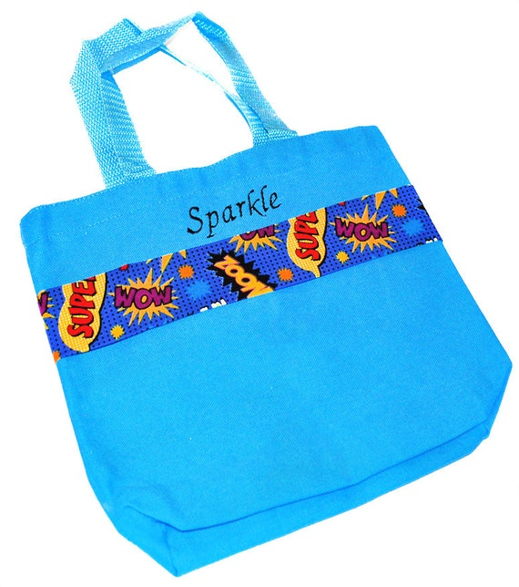 a8244d7573 Superhero Tote Bag with Monogram Name Embroidered on it ...