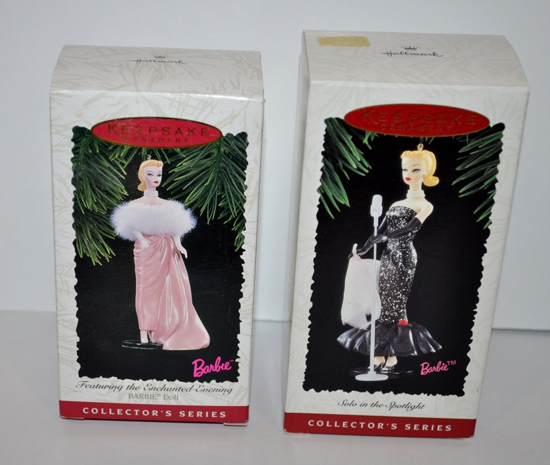 2 Hallmark Keepsake Ornaments Featuring The Enchanted Evening And Solo In The Spotlight Barbie Ornaments  New In Box