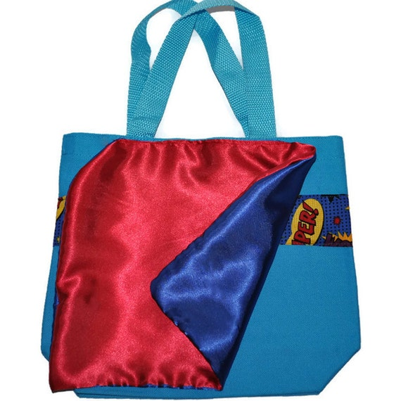 fea6ad2261 Superhero Tote Bag with a Cape and Monogram Name Embroidered on it