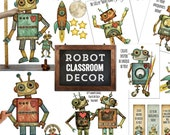Robot Classroom Decor, Digital Robot Bundle, Robot Theme Decor, Robot Nursery Decor, Retro Robot Decor Bundle, Robot art, Robin Davis Studio