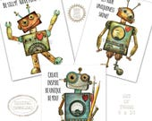 Robot theme boys room, Robot Party svg, Robot Nursery set, Robot Printable set, Modern Robot prints, Robot wall art set, Robin Davis Studio