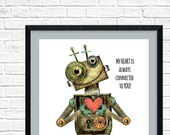 Robot Room printable, Robot Love, Robot Collector,  Robot Heart, Robots for her, Robot Fan Print, Connection quote print, RobinDavisStudio