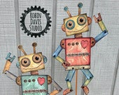 Paper Robots, Robot download, Robot Craft Printable, Robot digital download, Teacher Robot Craft, Robot Card DIY,  Robots, RobinDavisStudio