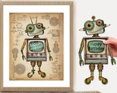 Retro Robot Printable, Re...