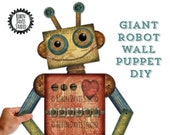 Large Robot decor, Giant Robot, Large Robot wall puppet, Robot Theme boys room, Robot room decor, Retro Robot DIY, Robots, Robin DavisStudio