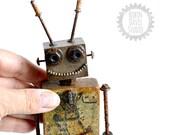 Wood Robot Sculpture, Ret...