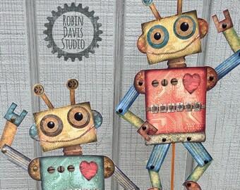 Paper Puppet Robots, Printable Robots, DIY Paper Puppets, Robot digital download, Robot Pdf Pattern, Robot Birthday svg, Robin Davis Studio