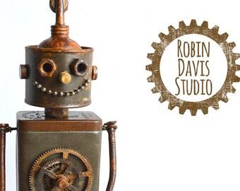 Tin Woodman Original Sculpture, Metal Tin Man Sculpture, Steampunk Metal Robot tinman, Retro Tin Man Art, Robin Davis Studio Art Sculptures