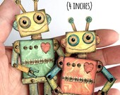Tiny robot DIY, Robot Mobile, Miniature Robot Download, Jointed Robot svg, Itty Bitty Robots, Teensy Robot Puppet, Robot, Robin Davis Studio