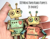 Tiny Paper Robot Craft, Cute Robot puppet, Articulated Robot, Miniature Robot puppet craft, Teeny Tiny robot DIY, Robots, Robin Davis Studio
