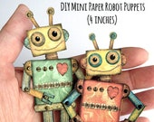 Tiny Robot DIY, Mini Robot DIY,  Articulated Robot puppet, Robot gift tag, Cute Robot paper craft, paper robot diy, Robots, RobinDavisStudio