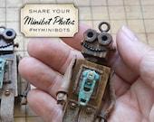 Magical Minibot, My Minibot Original, Miniature Retro Robot, wooden robots, Tiny Handmade Robot, Tiny Upcycled Robot, Robin Davis Studio