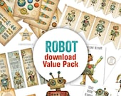 Robot theme DIY, Retro Robot Download, Huge Robot Value pack, Robot Party DIY, Robot Set, Robot Room Digital downloads, Robin DavisStudio