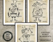 Robot Blueprint 8x10, Robot Patent Printable, Robot Nursery Printable, Toy Robot blueprints, Robot decor for boys room, Robin Davis Studio